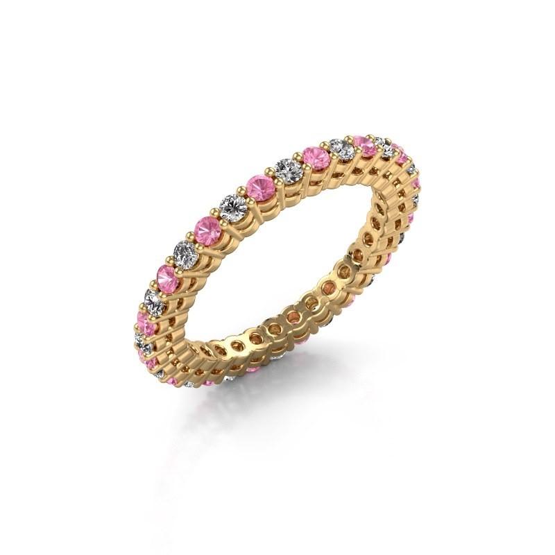 Aanschuifring Rufina 3 375 goud roze saffier 1.9 mm