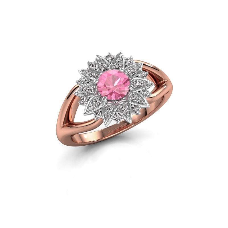 Verlovingsring Chasidy 1 585 rosé goud roze saffier 5 mm