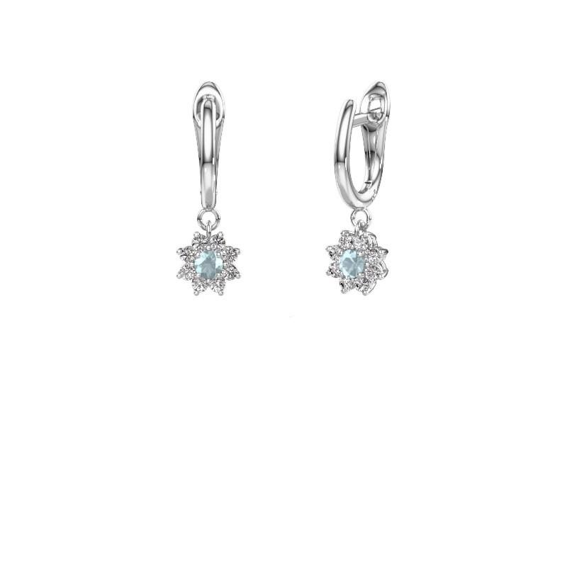 Drop earrings Camille 1 950 platinum aquamarine 3 mm