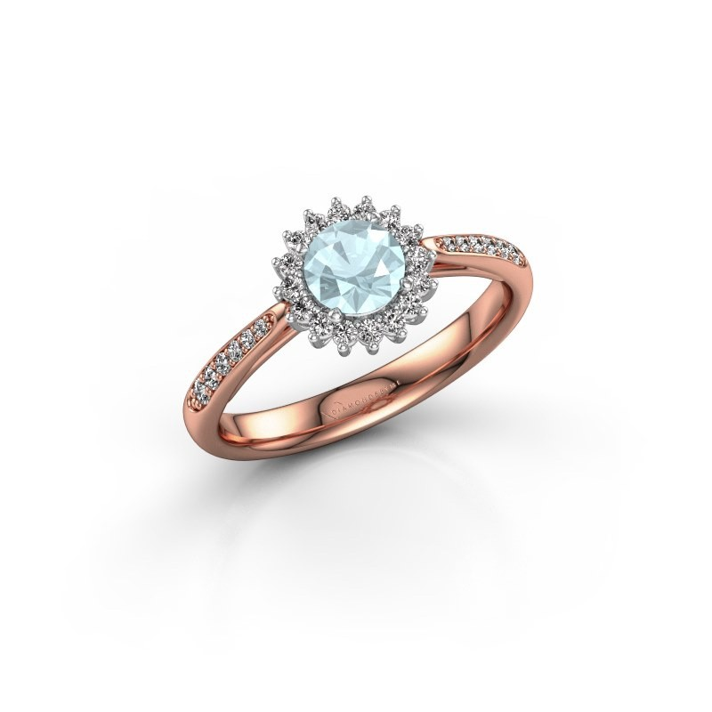Verlovingsring Tilly RND 2 585 rosé goud aquamarijn 5 mm