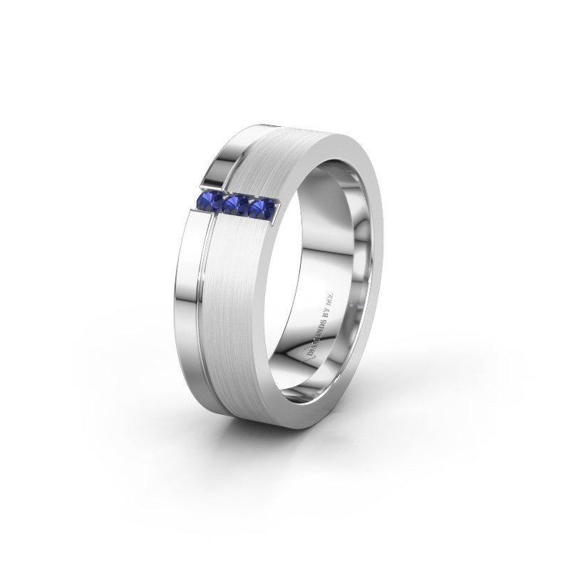 Wedding ring WH0327L16B 925 silver sapphire ±0.24x0.08 in