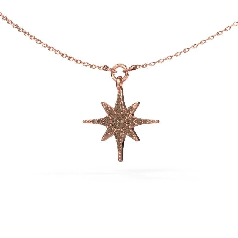 Halsketting Star 375 rosé goud bruine diamant 0.29 crt