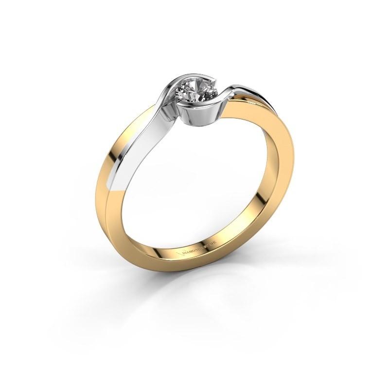 Bague Lola 585 or jaune diamant synthétique 0.25 crt