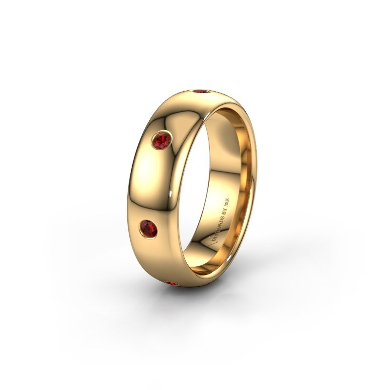 Trouwring WH0105L36BP 375 goud granaat ±6x2 mm