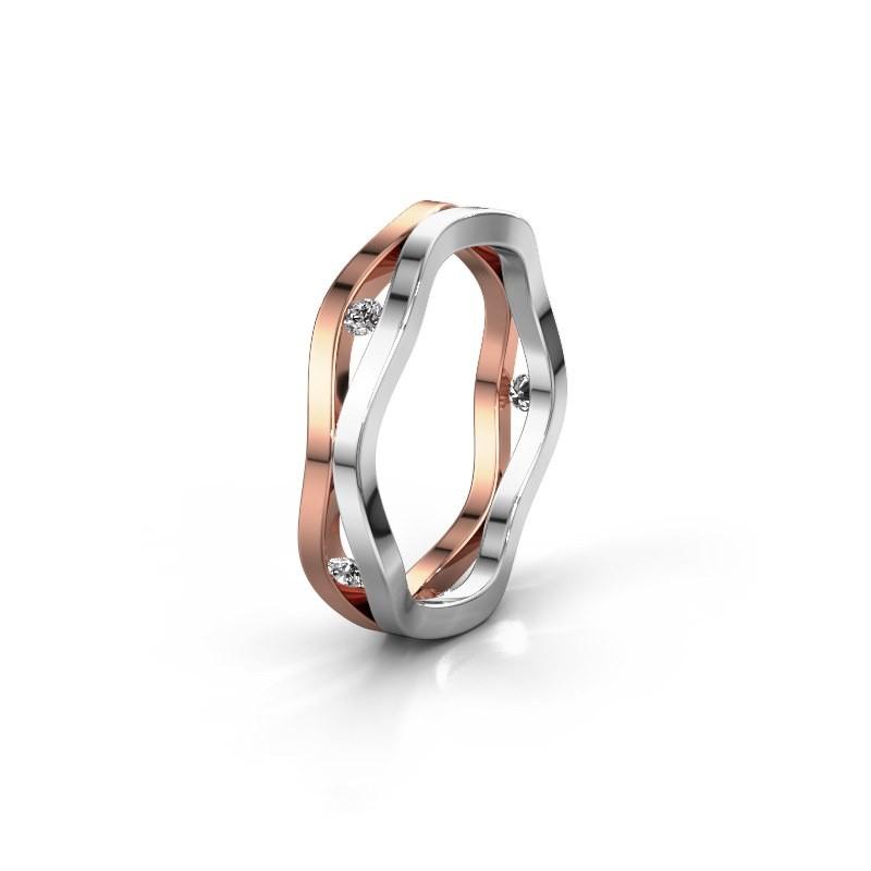 Trouwring WH2122L 585 rosé goud diamant ±5x1.8 mm