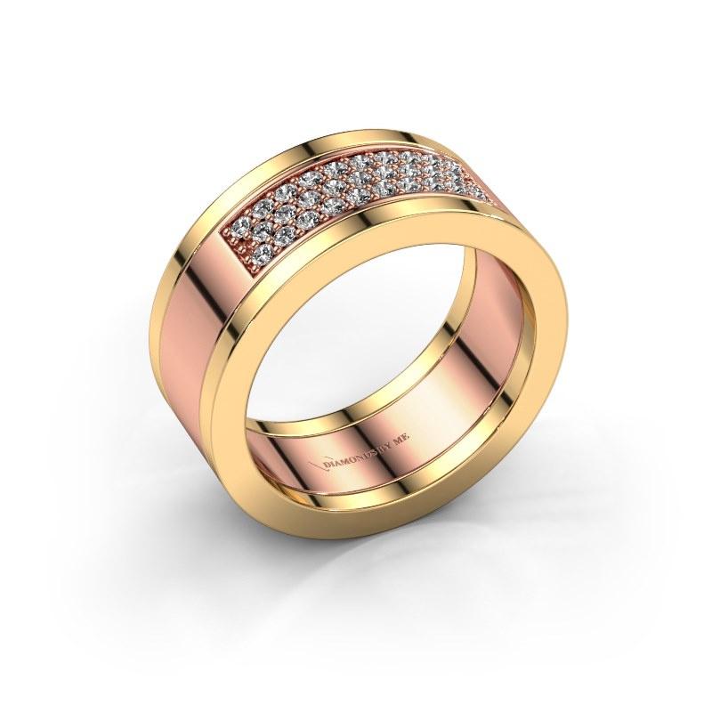 Ring Marita 3 585 rosé goud zirkonia 1.3 mm