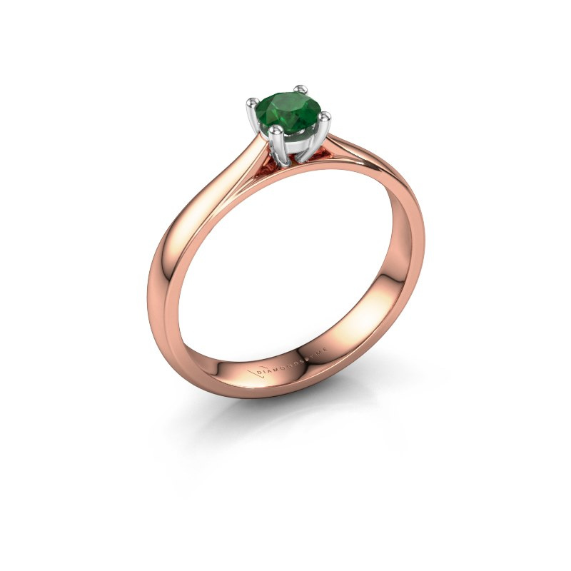 Engagement ring Sam 585 rose gold emerald 4.2 mm