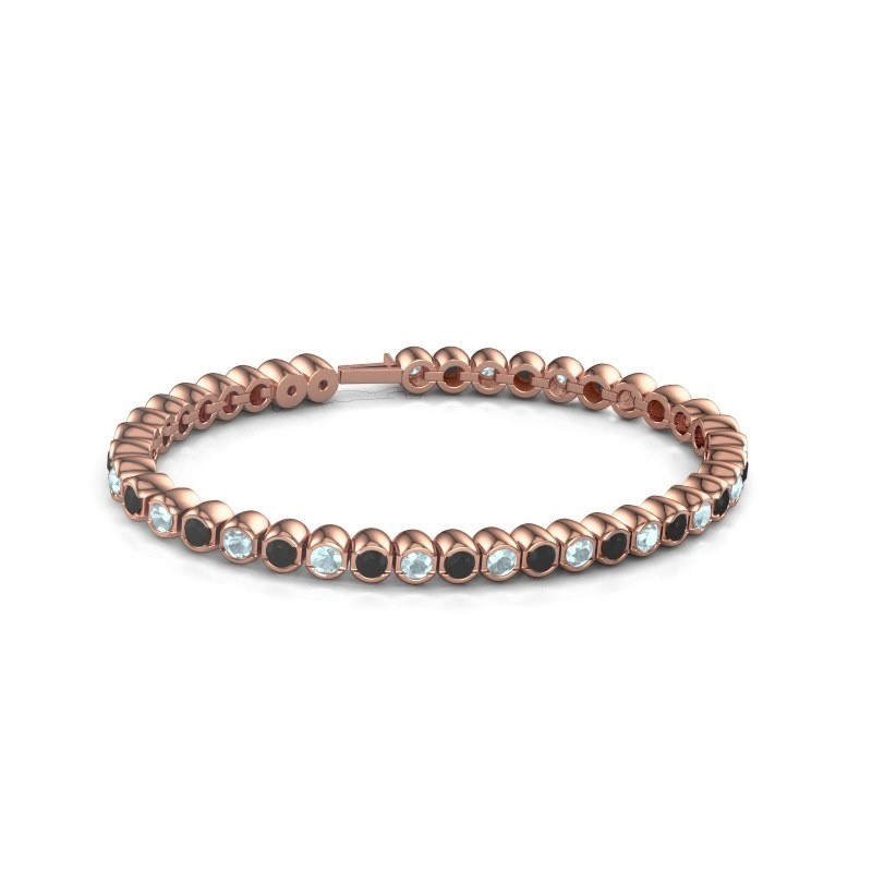 Tennisarmband Mellisa 375 rosé goud zwarte diamant 7.92 crt