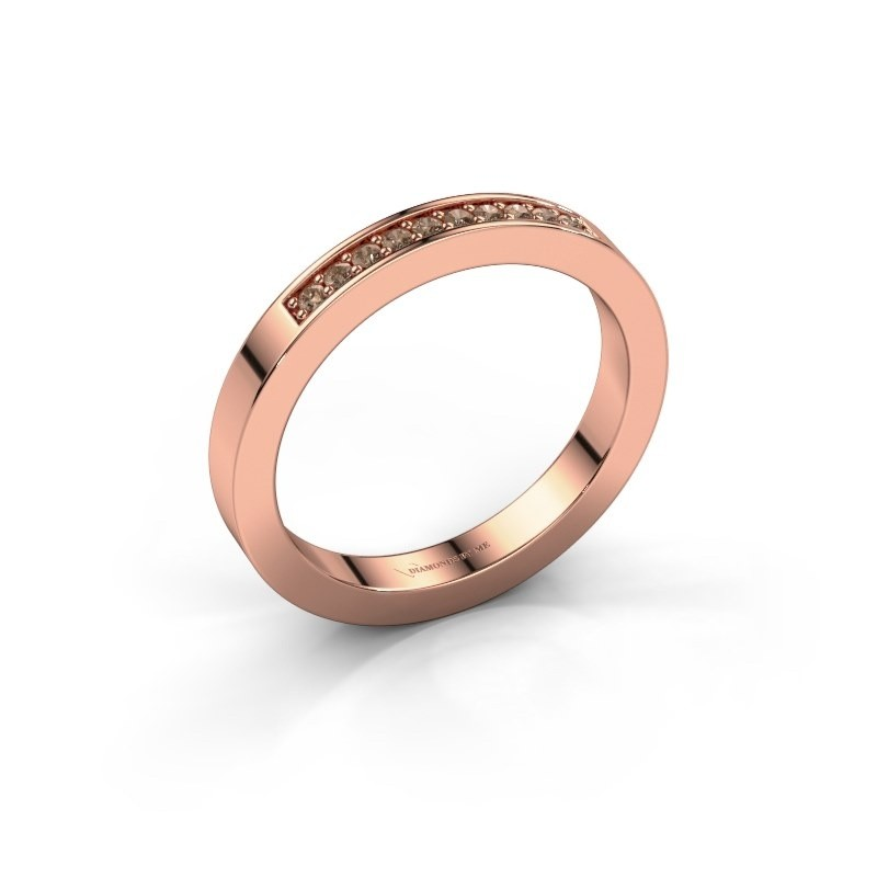 Stackable ring Loes 3 585 rose gold brown diamond 0.10 crt