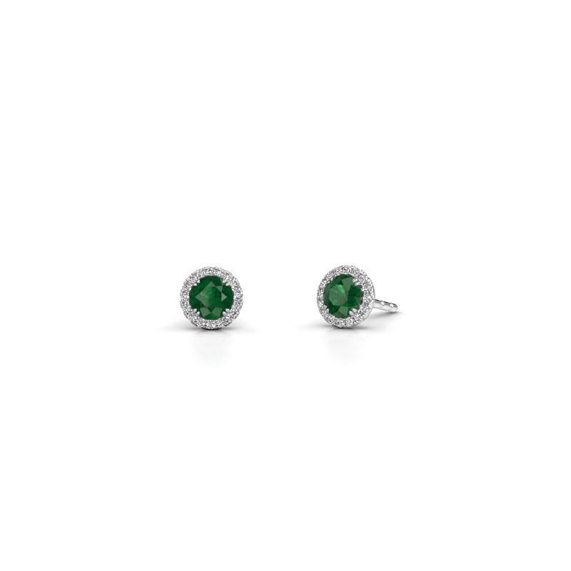 Oorbellen Seline rnd 585 witgoud smaragd 4 mm