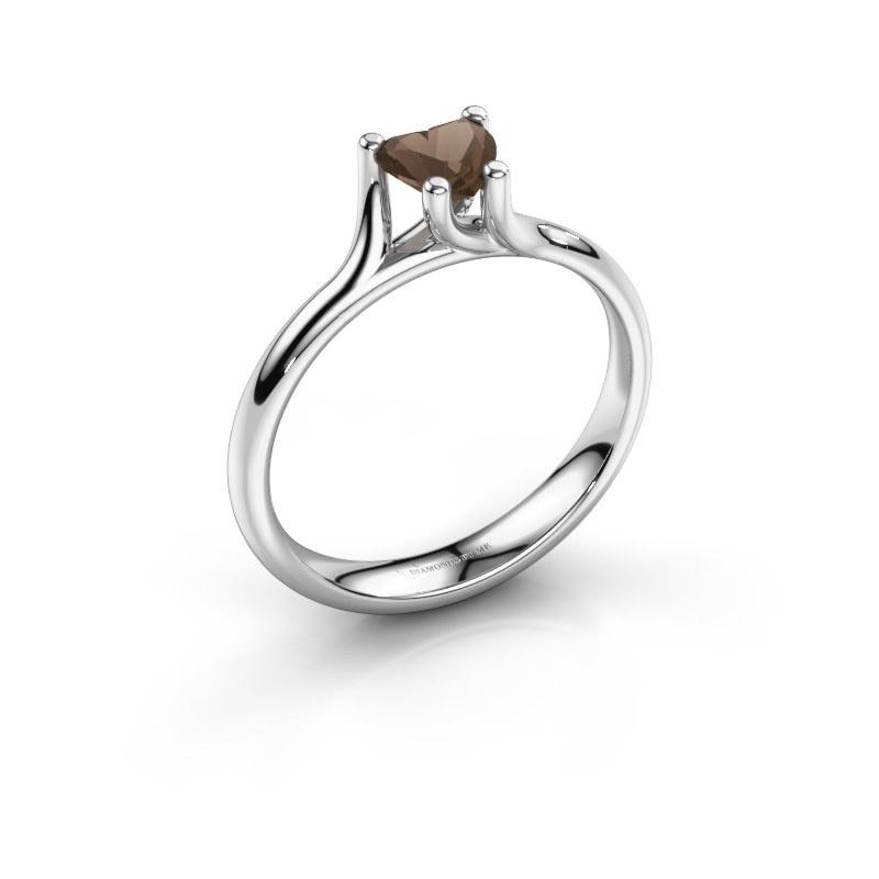 Engagement ring Dewi Heart 925 silver smokey quartz 5 mm