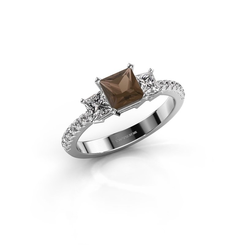 Engagement ring Dorla 925 silver smokey quartz 5 mm