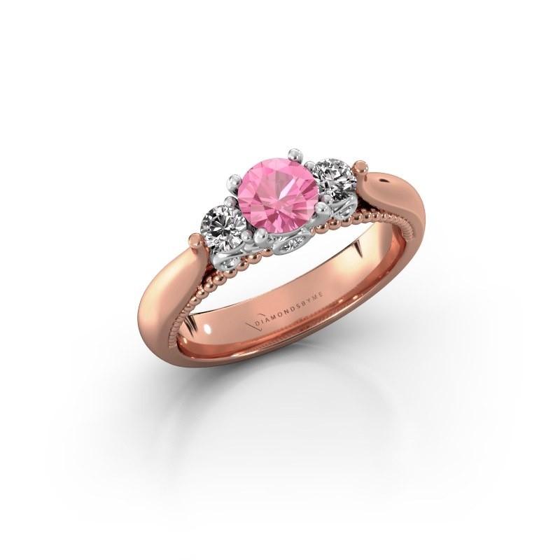 Verlovingsring Tiffani 585 rosé goud roze saffier 5 mm