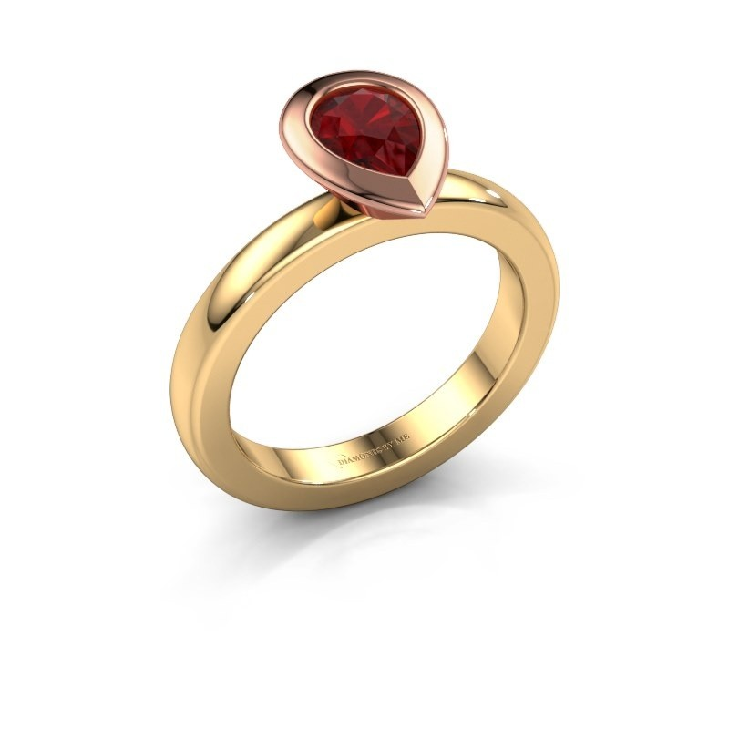 Stapelring Trudy Pear 585 goud robijn 7x5 mm
