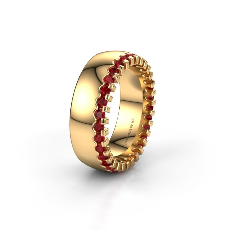 Wedding ring WH6120L27C 375 gold ruby ±7x2.2 mm