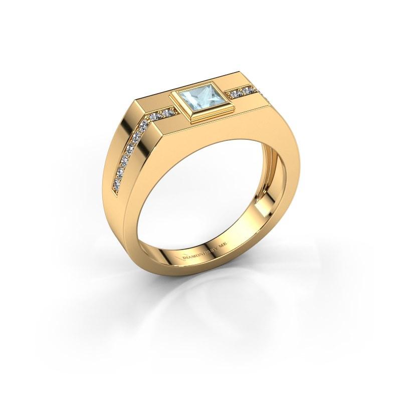 Herrenring Robertus 2 585 Gold Aquamarin 4 mm