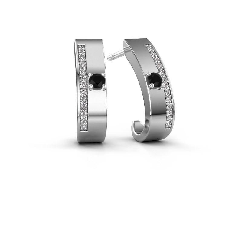 Oorbellen Vick1 950 platina zwarte diamant 0.252 crt