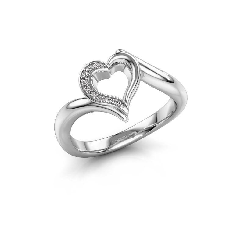 Ring Katlyn 585 witgoud zirkonia 0.8 mm