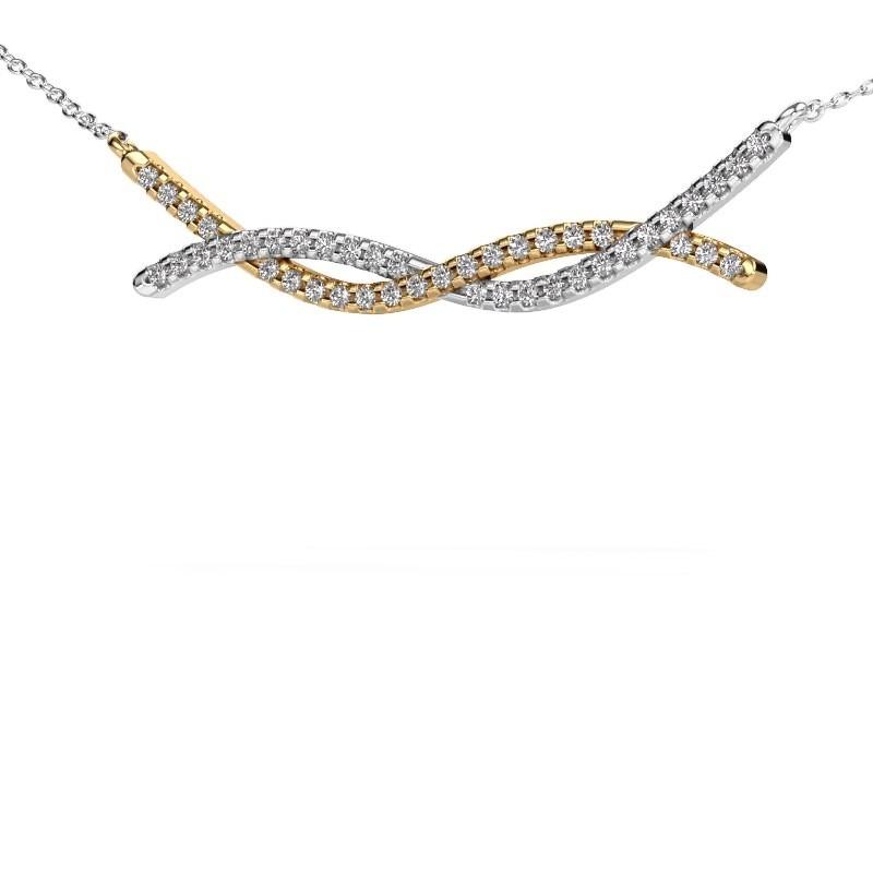 Collier barre Breanne 585 or jaune diamant synthétique 0.338 crt