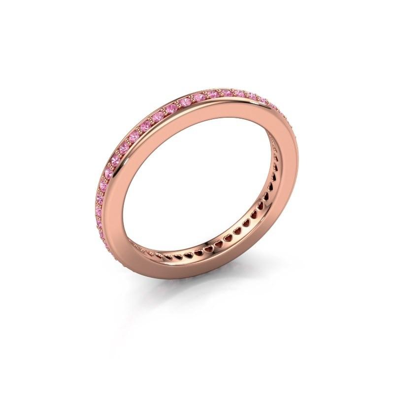 Aanschuifring Elvire 2 375 rosé goud roze saffier 1.2 mm
