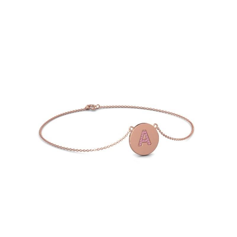 Bracelet Initial 050 375 or rose saphir rose 1 mm