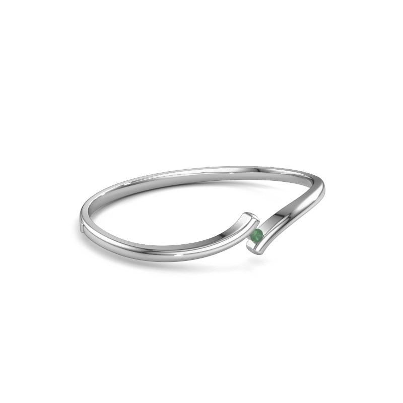 Bracelet jonc Amy 950 platine emeraude 3.4 mm