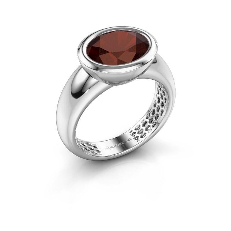 Ring Evelyne 585 Weißgold Granat 10x8 mm