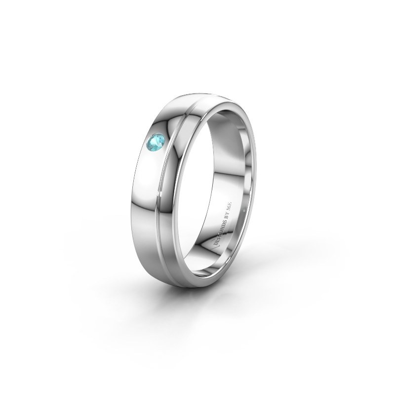 Trouwring WH0301L25AP 585 witgoud blauw topaas ±5x1.7 mm