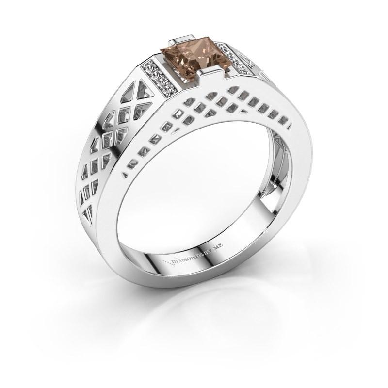 Heren ring Jonathan 950 platina bruine diamant 0.834 crt