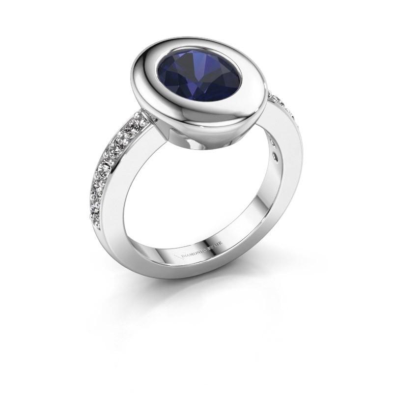 Ring Selene 2 585 witgoud saffier 9x7 mm