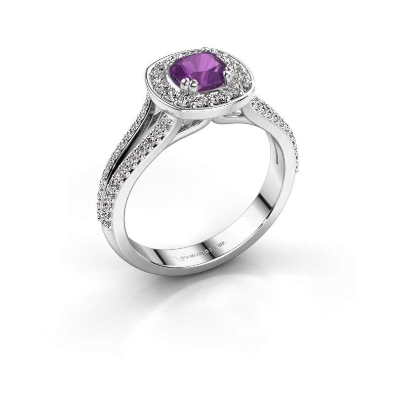 Engagement ring Carolina 2 925 silver amethyst 5 mm