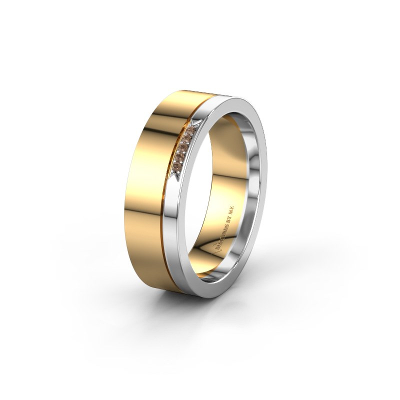 Huwelijksring WH0336L16A 585 goud bruine diamant ±6x1.7 mm