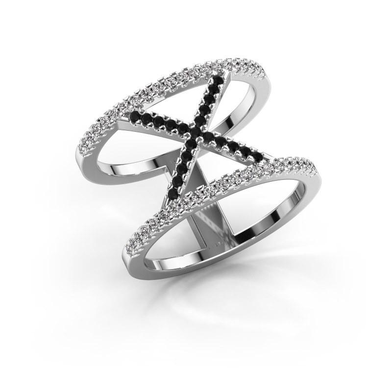Bague Sharri 2 585 or blanc diamant noir 0.449 crt