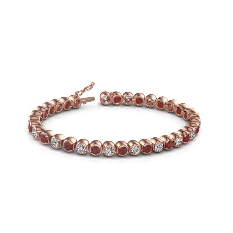 Tennis bracelet Bianca 375 rose gold ruby 4 mm