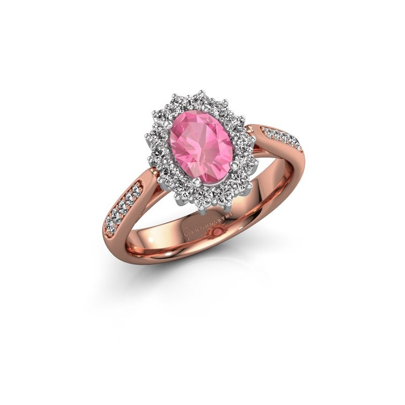 Engagement ring Margien 2 585 rose gold pink sapphire 7x5 mm