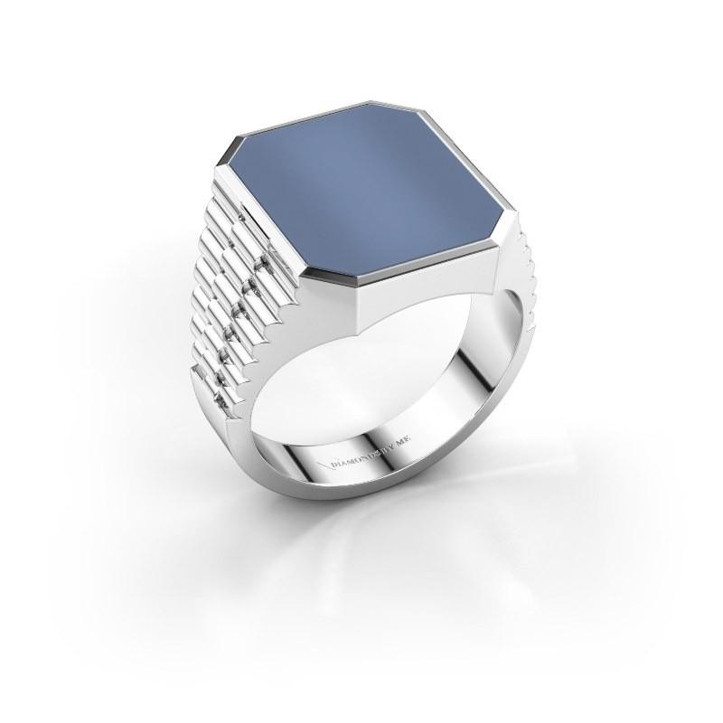 Rolex stijl ring Brent 4 585 witgoud licht blauwe lagensteen 16x13 mm