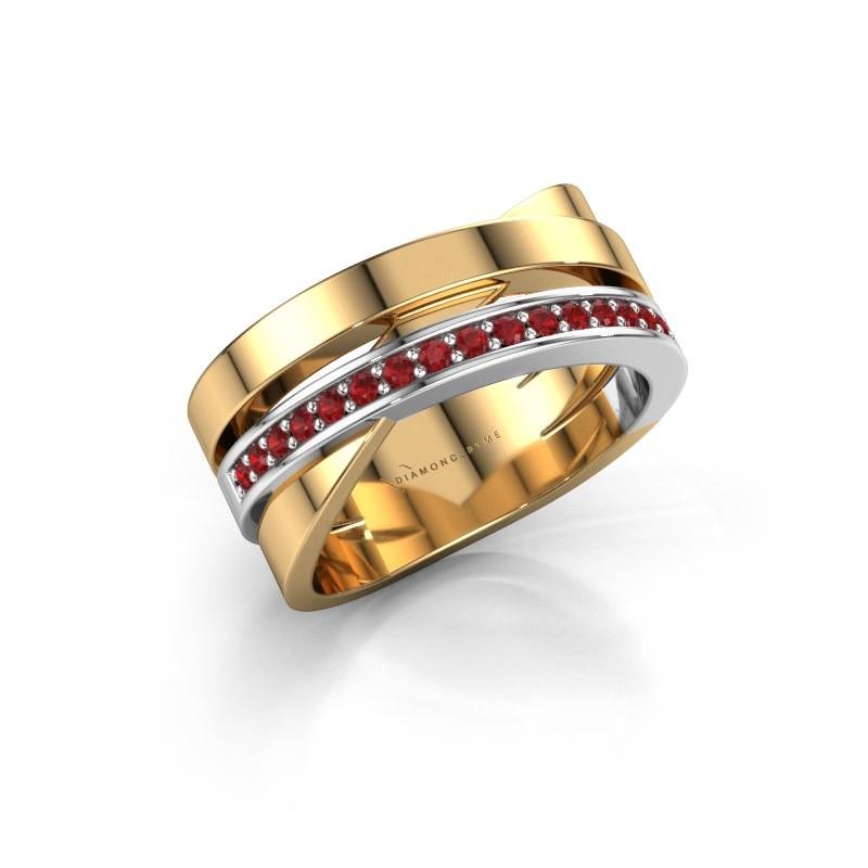 Ring Yolando 585 goud robijn 1.3 mm
