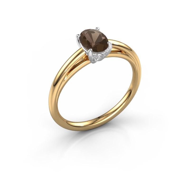 Verlovingsring Haley OVL 1 585 goud rookkwarts 7x5 mm