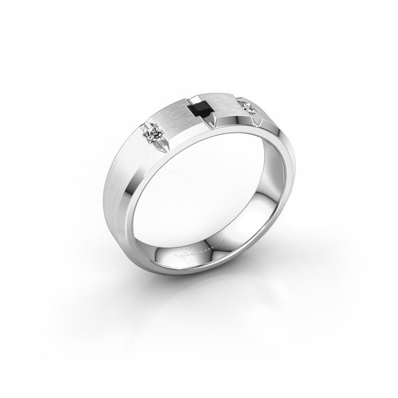 Mannen ring Justin 925 zilver zwarte diamant 0.22 crt