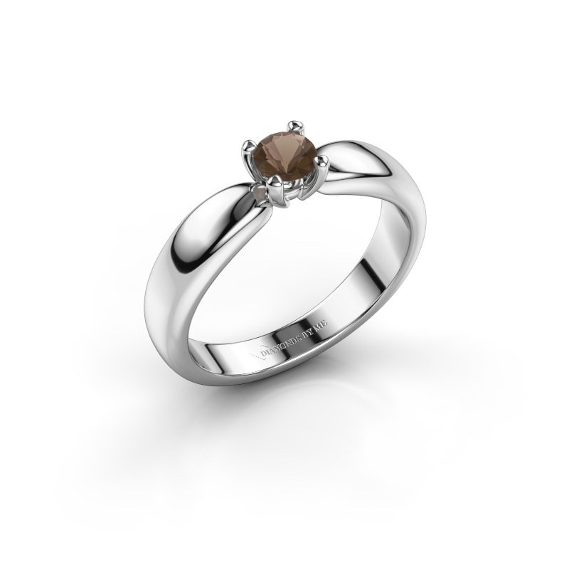 Promise ring Katrijn 585 witgoud rookkwarts 4.2 mm