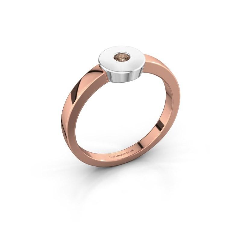 Bague Elisa 585 or rose diamant brun 0.10 crt