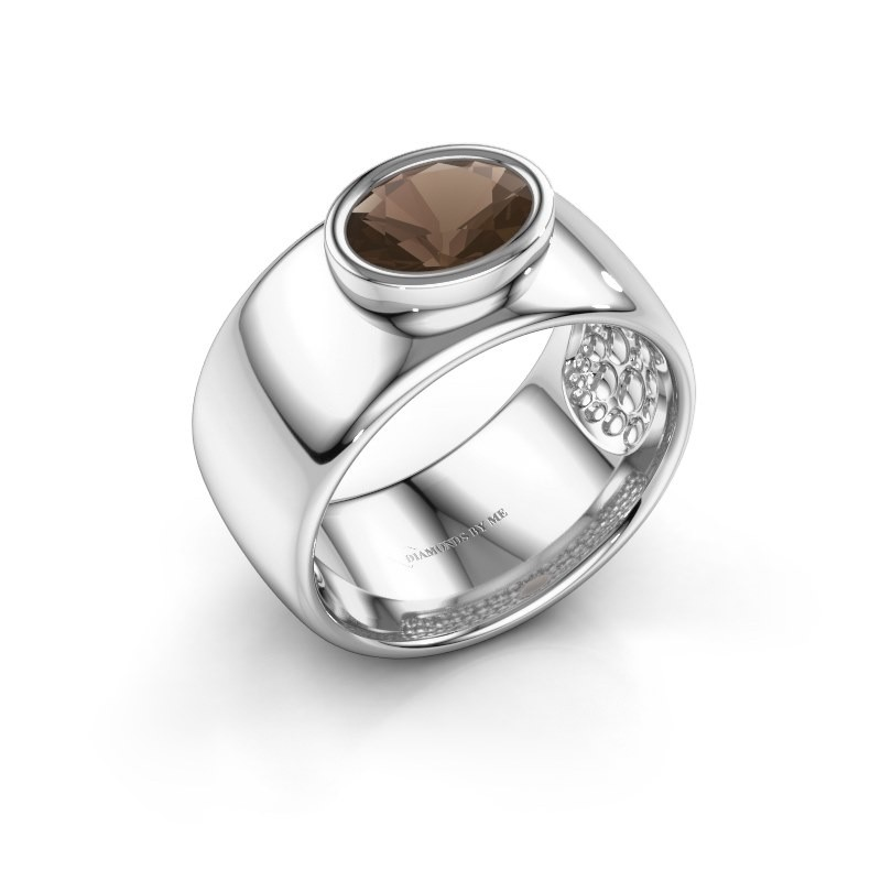 Ring Anouschka 925 silver smokey quartz 8x6 mm