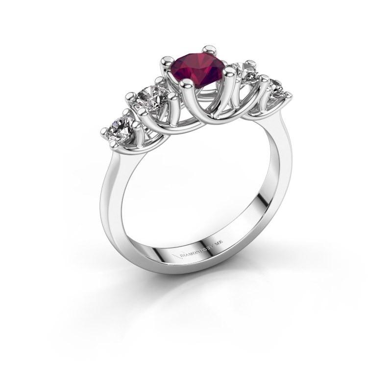 Engagement ring Jet 925 silver rhodolite 5 mm