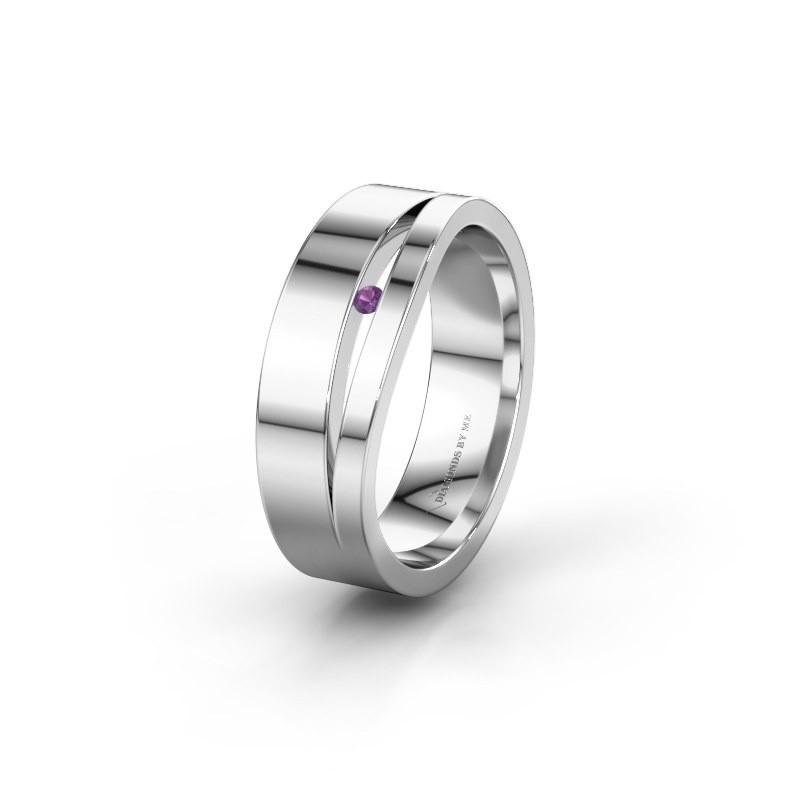 Wedding ring WH6000L16AP 925 silver amethyst ±6x1.7 mm
