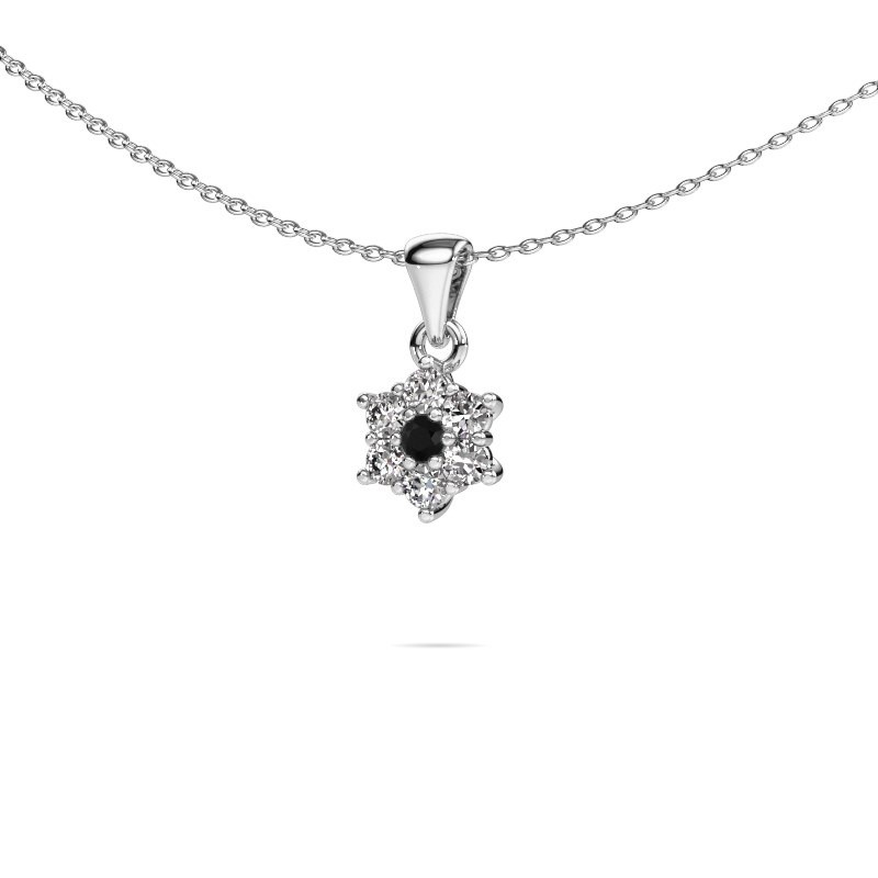 Ketting Chantal 585 witgoud zwarte diamant 0.396 crt