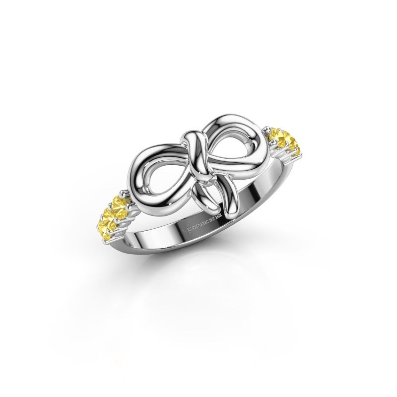 Ring Olympia 950 platina gele saffier 2.2 mm