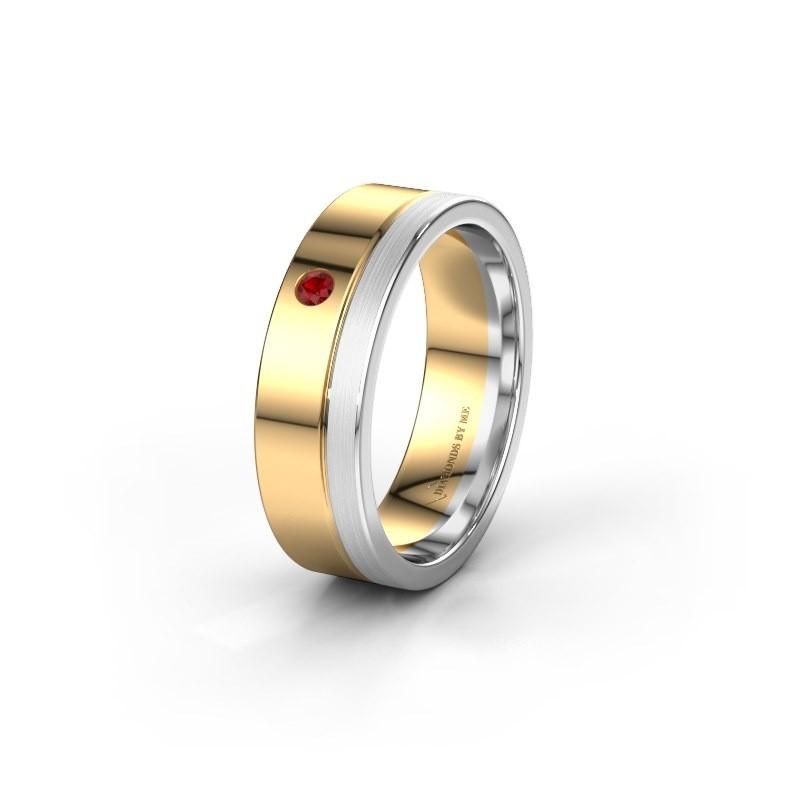 Trouwring WH0301L16APM 585 goud robijn ±6x1.7 mm