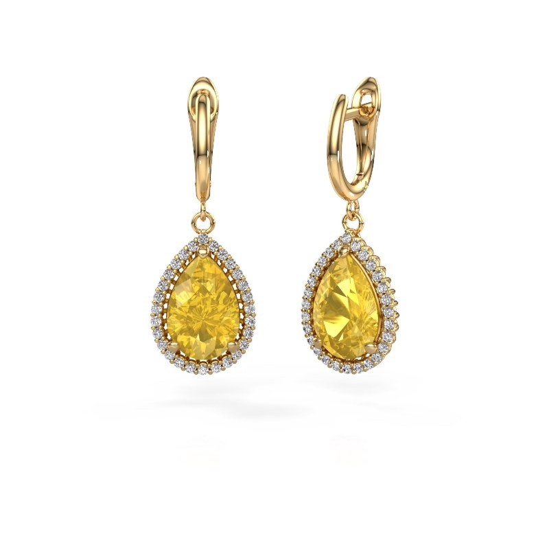 Drop earrings Tilly per 3 585 gold yellow sapphire 12x8 mm