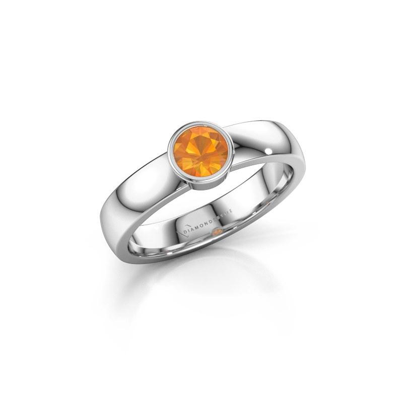 Ring Ise 1 585 white gold citrin 4.7 mm