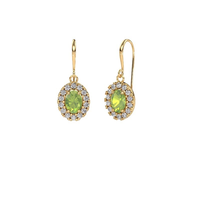 Drop earrings Jorinda 1 585 gold peridot 7x5 mm
